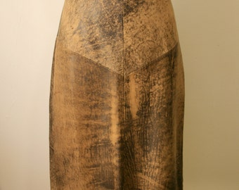 Vintage 1970s 1980s Distressed Brown Leather Skirt