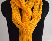 Arachne Hand-Knit Scarf in Goldenrod