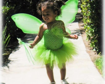 SALE! Tinkerbell Tutu Green Fairy Costume including wings and wand
