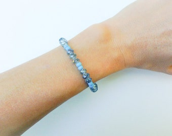 Crystal blue beaded stacking layering bracelet