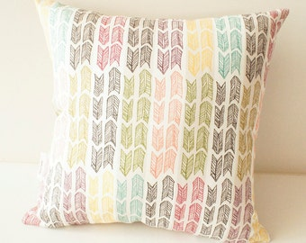 Cushion, designer pillow, Rainbow Arrows