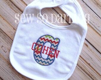 Monogrammed Baby Boy Bib - Personalized Bib - Baby Bib - chevron monogrammed bib - baby gift