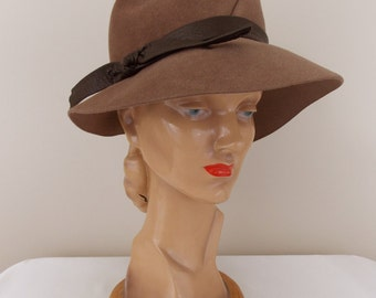 1970's Brown Wool Felted Velour Fedora