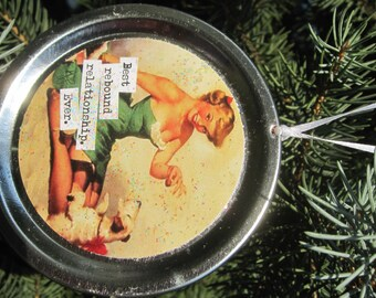 "Funny Christmas Ornament - Retro Pinup Girl with Dog Recycled Jar Lid: ""Best rebound relationship. Ever."""