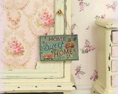 Dollhouse Miniature, Home Sweet Home Sign, Wooden Picture, Hanging Plaque, Dolls House Decor, Shabby Cottage Chic, 1:12th Scale