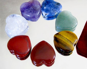 CHAKRA SET. Beautiful Heart Shaped Natural Crystals Reiki Energy Infused plus Pouch
