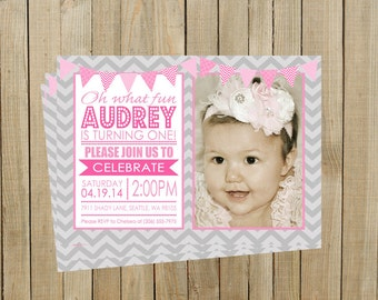 Pink with Gray Chevron First Birthday Invitation, Girl, Printable, Custom Digital File