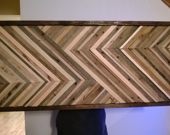 Abstract Chevron design with recycled wood