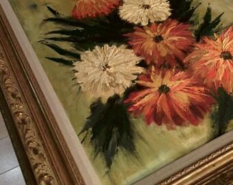 Vintage original signed floral painting