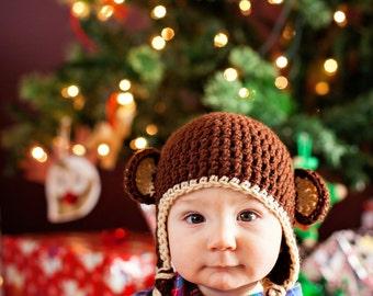 Baby Boy Knit Hat Monkey Hat Newborn Photo Prop