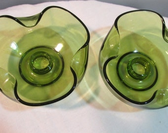 Vintage Pair of 1960's Green Glass Candle Holders