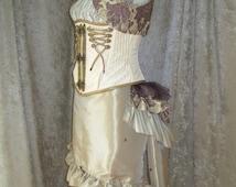 Champagne/Platinum Polka Dot Hi-Lo Hem Skirt - Mini or Knee Length - ONLY AVAILABLE UNTIL 2/21