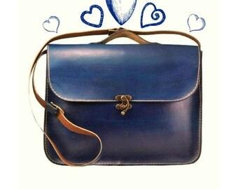 Blue Leather Laptop Bag ,Briefcase ,Messenger Bag ,Shoulder Bag ,Satchel ,for men ,gift ,back to school