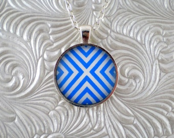 """Blue and white """"X"""" pendant necklace"""
