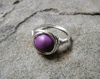 Purple Turquoise Ring, Wire Wrapped Ring, Purple Ring, Wire Wrapped Jewelry Handmade, Gemstone Ring, Turquoise Jewelry