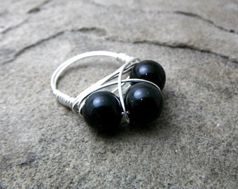 Black Obsidian Ring, Black Ring, Cluster Ring, Wire Wrapped Ring, Wire Wrapped Jewelry Handmade, Black Gemstone Ring, Black Stone Ring