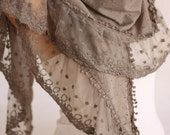 Beige Tulle Edged Triangle Cotton Scarf Woman Scarf -ESCHERPE