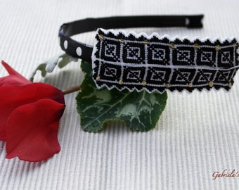 Black and White Headband, Romanian Cross Stitch Pattern, Spring/Traditional Headband