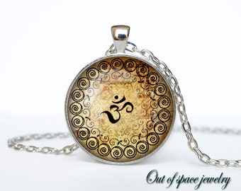 Om Necklace Om Pendant  Yoga Jewelry  Om Charm