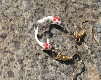 Happy Swimming Glass Koi Gold Earrings Red & White, Kohaku, Jewelry Handmade