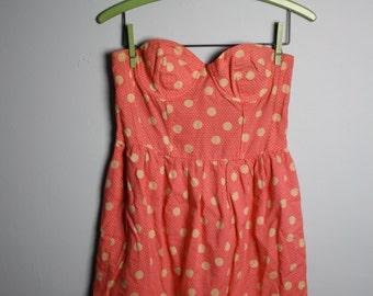 Pink and White PolkaDot Strapless Dress