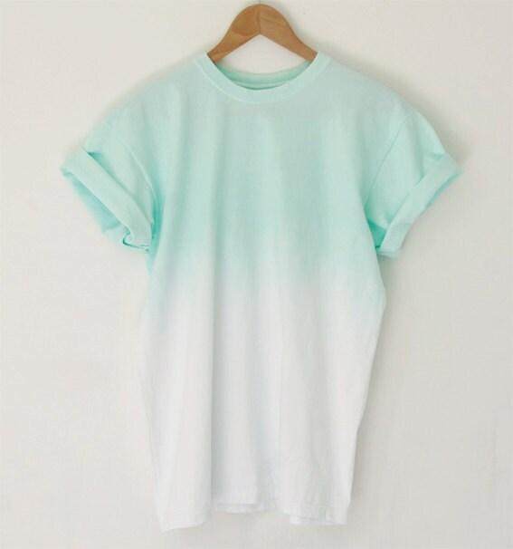Mint unisex ombre dip dye 100 cotton t shirt size s only for Mint color t shirt