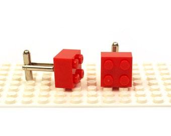 Red colour 2 x 2 brick cufflinks. Cufflinks made with LEGO(R) bricks.    Cuff links Cufflink Wedding gift