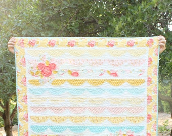 Baby Girl Quilt, Pink, Yellow, Blue, Aqua, Red, Floral, Minky, Raw-edged, Raw Edged, Low Volume