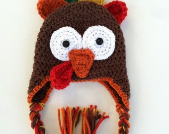 Crochet Thanksgiving Turkey Hat - Made to order