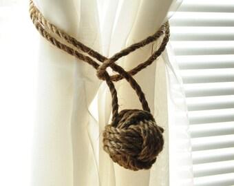 Nautical Rope Curtain Tiebacks - Nautical Decor - Cottage Curtain Tiebacks - (this is for 2)