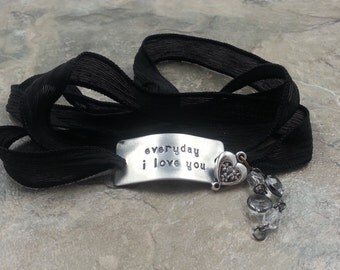 "Mother's Day Gift / Custom Silk Wrap Bracelet / ""everyday i love you"" Bracelet / Hand Dyed Silk Ribbon / Yoga Wrap Bracelet"
