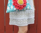 Floral Purse- Blue & White Geometric Handbag- Red Dahlia Flower- Beaded Handles-Hand Sewn-Vintage Style Purse-Translucent Beads - bluehoneyrose