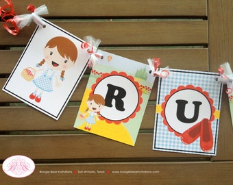 Wizard of Oz Birthday Party Banner Red Shoes Dorothy Name Toto 1st 7th Girl Yellow Brick Road Gingham Fun Boogie Bear Invitations Ruby Theme