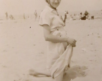 1940's Sweet 16 Cute Young Woman Visits The Beach Snapshot Photo - Free Shipping