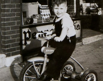 See Dick Ride - 1938 Birthday Boy Gets A New Tricycle Snapshot Photo - Free Shipping