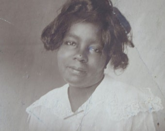 She Sacrificed For Those She Loved - 1910's African American Black Woman Studio Photo - Free Shipping