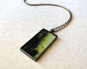 Seaweed pendant / Rectangular antique bronze necklace / Ocean pendant / Mermaid jewelry / Botanical jewelry / Christmas gift / FREE SHIPPING