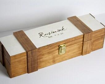 Wedding Wine Box -- Personalized, Engraved,  Glossy varnish, Rustic, Wine Country, Wine Box Ceremony, Custom