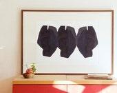 "Minimalist Contemporary Wall Art, Large Art Print, Three Black Heads, 27""x 20"", Modern Giclee Poster, 50x70cm"