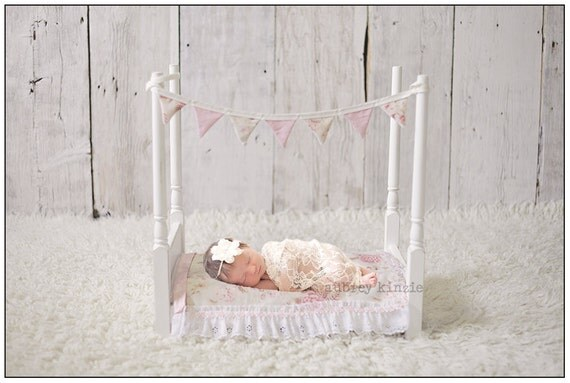 Newborn Baby Photography Prop Wooden Bed Set Pink Includes