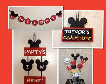 Mickey Mouse Birthday Decorations  Lot - Banner/Door Sign/Centerpiece/Clubhouse Sign