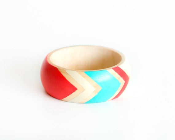 Coral Mint Bracelet,  Arrow Neon Bangle, Tribal Geometric Jewelry, Summer Fashion