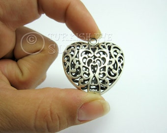 Silver Heart Pendant, 3D Hollow, Antique Silver Plated Brass Heart, Exclusive Turkish Jewelry