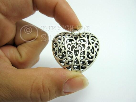 Silver Heart Pendant 3D Hollow Antique Silver Plated Brass