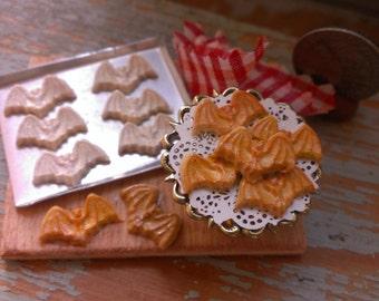 Bat cookies on Board Halloween  Dollhouse Miniature ooak one inch scale General store 1:12