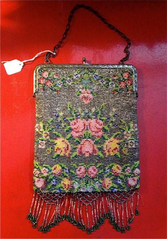 Beaded Bags Patterns Free : Vintage Beaded Purse with Floral Pattern, Beaded Fringe, and Etched ...