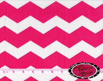 PINK CHEVRON Fabric by the Yard Half Yard or Fat Quarter Hot PINK & White Large Chevron Fabric 100% Cotton Quilting Apparel Fabric a4-24