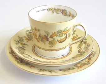 1960s Fine Bone China Tea Trio, Autumn Song Pattern, Elizabethan China, 4 Sets Available