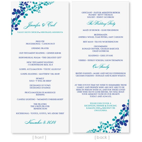 Diy wedding program template download by diyweddingtemplates for Etsy shop policies template