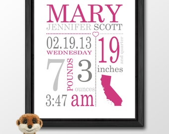 personalized baby girl gift, baby girl nursery decor, birth stats wall art, baby girl decor, new parent gift, birth date print, baby decor